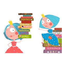 little cute girls in library with books vector image