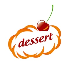 Logo dessert clouds and cherry vector