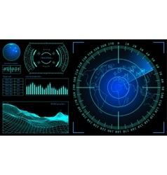 Military green radar wireframe landscape screen vector