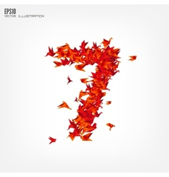 Number 7 numbers with origami paper bird vector