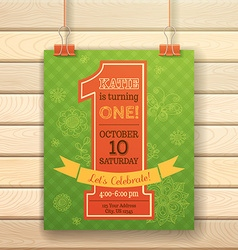One year Birthday invitation card on wood vector