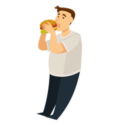 overeating obesity man eating hamburger fat guy vector image