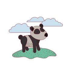 panda cartoon in outdoor scene with clouds on vector image