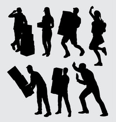 people work silhouette vector image vector image