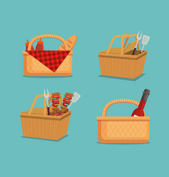 Picnic party invitation set icons vector