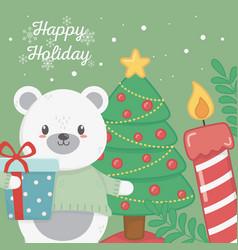 Polar bear tree gift and candle celebration happy vector