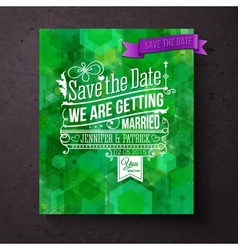 Pretty abstract green Save The Date template vector image