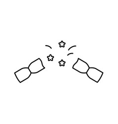 Pulled christmas cracker linear icon exploded vector