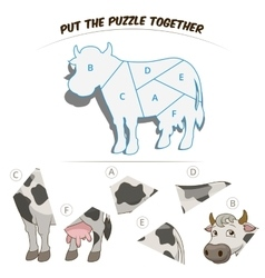 Puzzle game for children cow vector