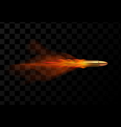 realistic flying bullet with red trail fire vector image