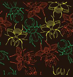 Seamless pattern with deer beetles and rhinoceros vector