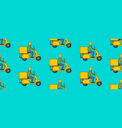 seamless pattern with delivery man on scooter vector image