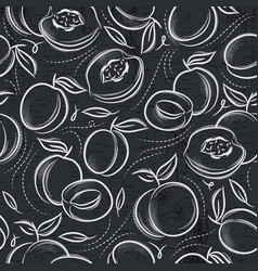 seamless patterns with apricot plum and peach vector image