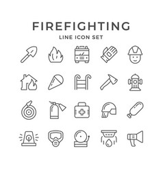 set line icons of firefighting vector image
