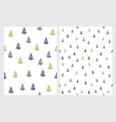 set of 2 christmas tree patterns vector image