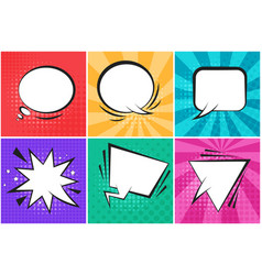 set of bright color retro comic speech bubbles vector image