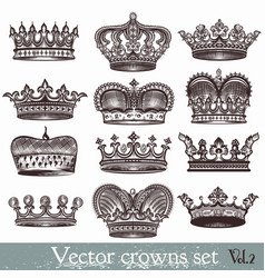 set of hand drawn crowns in vintage style vector image