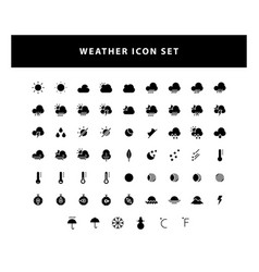 set weather icon with glyph style design vector image