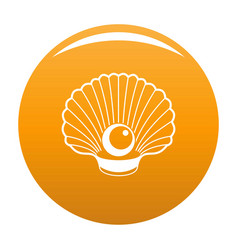 Shell with pearl icon orange vector