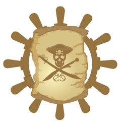 Ship helm and parchment-1 vector