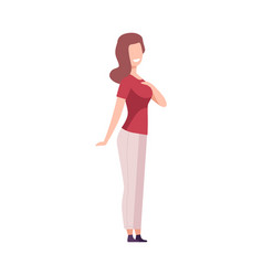 Smiling woman happy girl character wearing casual vector