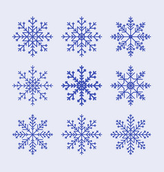 snowflake set pattern for christmas or new year vector image