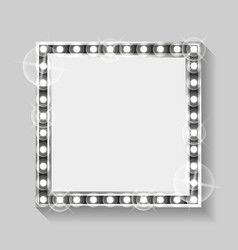 square banner empty frame with silver bulbs vector image