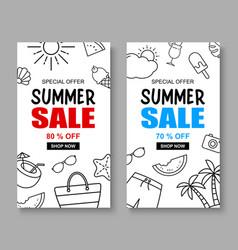 summer sale banner cover template background vector image