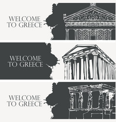 Travel banners on theme ancient greece vector