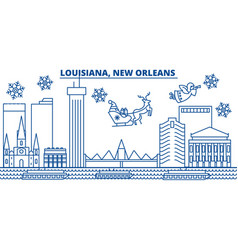 usa louisiana new orleans winter city skyline vector image