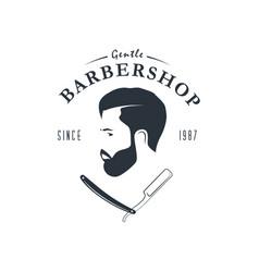 Vintage barber shop logo hipster emblem vector