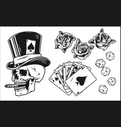 vintage monochrome gambling elements set vector image