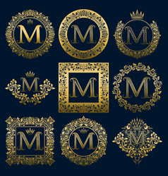 Vintage monograms set of m letter vector