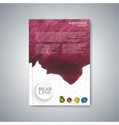Watercolor template brochure magazine flyer vector image