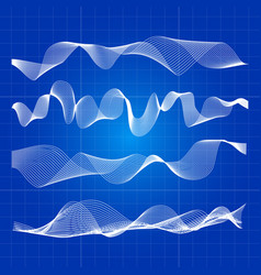white abstract waves from lines design vector image vector image