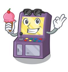 With ice cream toy arcade machine in cartoon vector