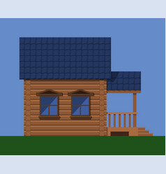 wooden village house vector image