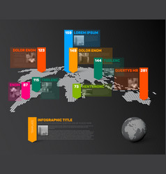 world map infographic template with photos vector image