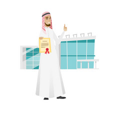 Young muslim businessman holding a certificate vector