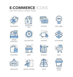 Blue line e-commerce icons vector