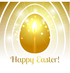 happy easter gold egg with candle emits light rays vector image vector image