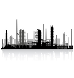 Oil refinery silhouette vector image