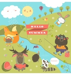 Set of cartoon characters and summer elements vector image