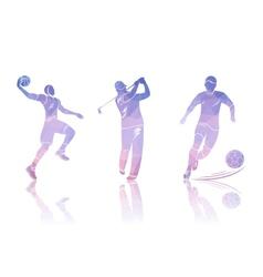 Set Shapes Golfers Football and Basketball vector image vector image