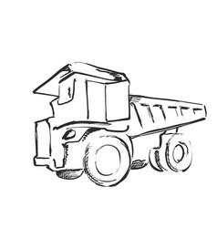 tractor sketch black and white vector image