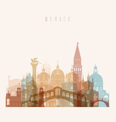 venice skyline detailed silhouette transparent vector image vector image