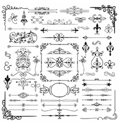 Black Hand Drawn Decorative Doodle Design Elements vector image vector image