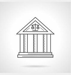 Court building flat line icon vector