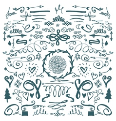 hand drawn decorative doodles vector image vector image
