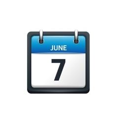 June 7 Calendar icon flat vector image vector image